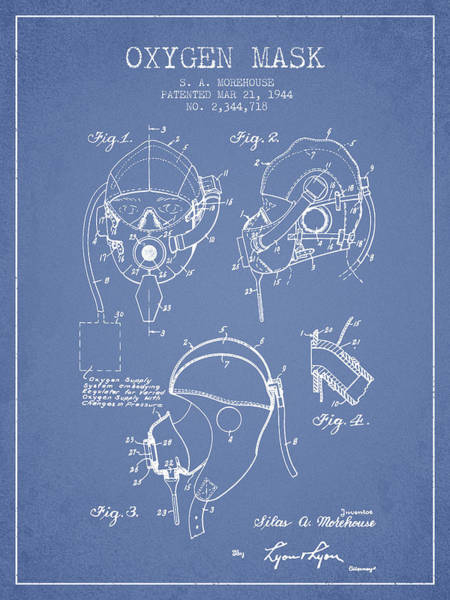Mask Digital Art - Oxygen Mask Patent From 1944 - Light Blue by Aged Pixel