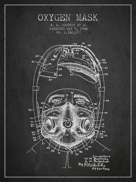 Mask Digital Art - Oxygen Mask Patent From 1944 - One - Charcoal by Aged Pixel