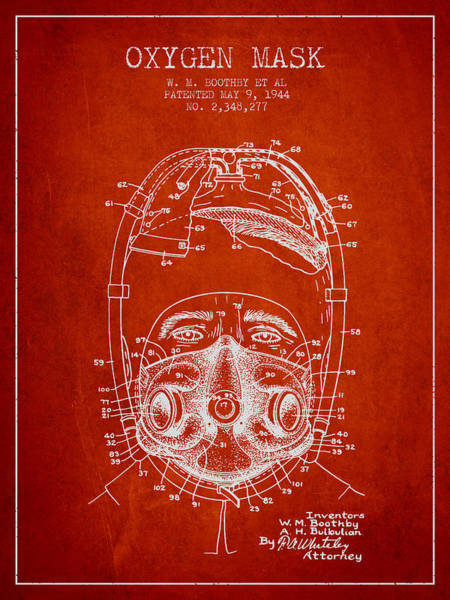 Mask Digital Art - Oxygen Mask Patent From 1944 - One - Red by Aged Pixel
