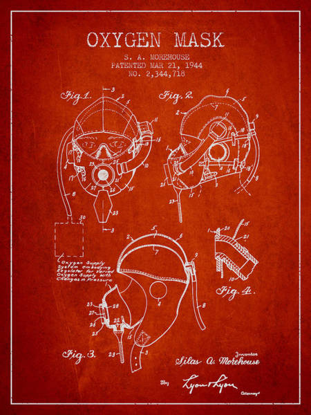 Mask Digital Art - Oxygen Mask Patent From 1944 - Red by Aged Pixel
