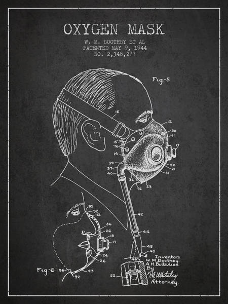 Mask Digital Art - Oxygen Mask Patent From 1944 - Three - Charcoal by Aged Pixel
