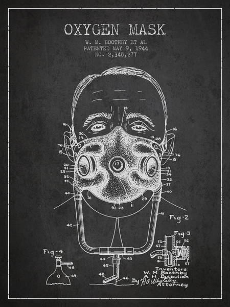 Mask Digital Art - Oxygen Mask Patent From 1944 - Two - Charcoal by Aged Pixel