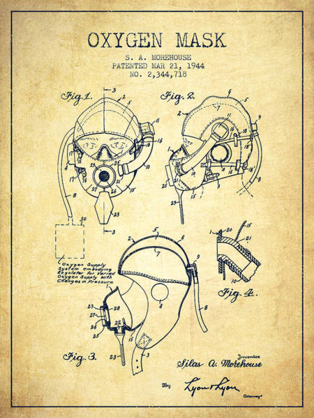 Mask Digital Art - Oxygen Mask Patent From 1944 - Vintage by Aged Pixel