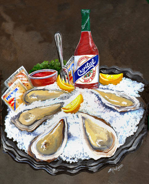 Wall Art - Painting - Oysters On Ice by Elaine Hodges
