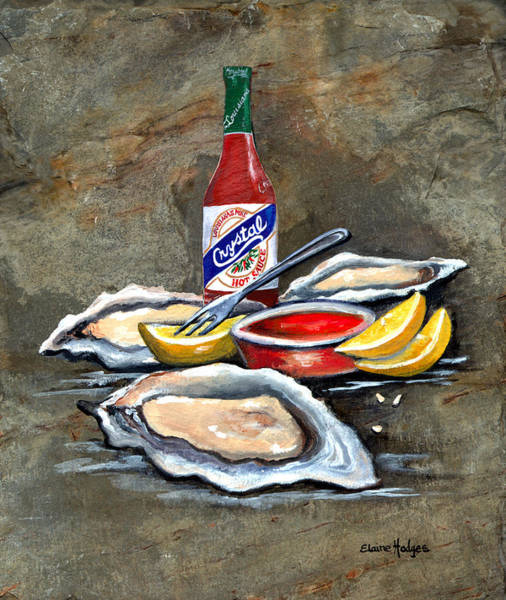 Slate Painting - Oysters On The Half Shell by Elaine Hodges
