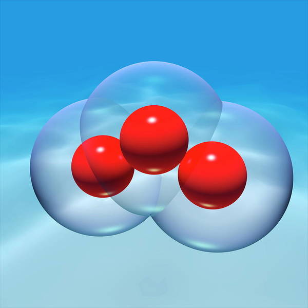 Ozone Layer Photograph - Ozone Molecule by Russell Kightley/science Photo Library