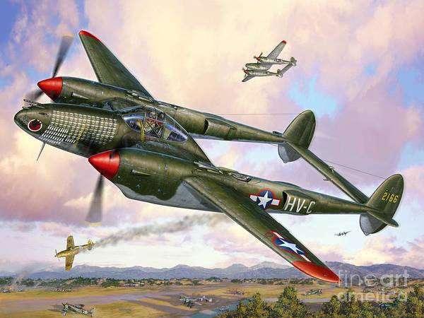 Lightning Digital Art - P-38f Lightning Sicilian Summer by Stu Shepherd