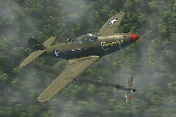 Wwii Wall Art - Digital Art - P-39 Airacobra Vs. Zero by Robert Perry