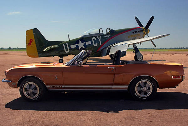 Photograph - 1968  Shelby Mustang And P 51 Mustang War Bird by Tim McCullough