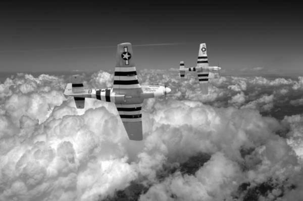Photograph - P-51 Mustangs Black And White Version by Gary Eason