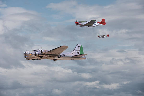 Flying Fortress Photograph - P51 Red Tails - Bringing Them Home by Pat Speirs