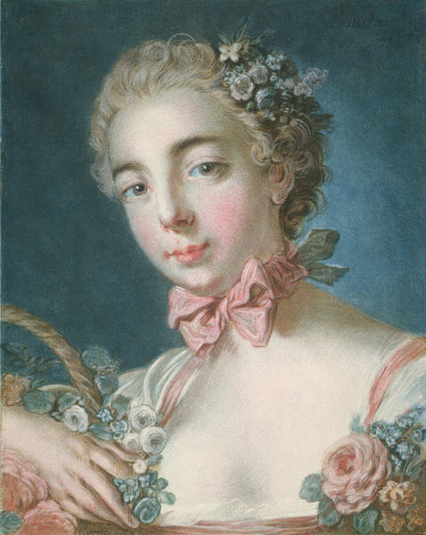 Francois Boucher Painting - Head Of Flora by Francois Boucher