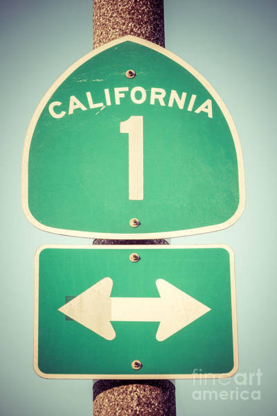 United States Of America Photograph - Pacific Coast Highway Sign California State Route 1  by Paul Velgos