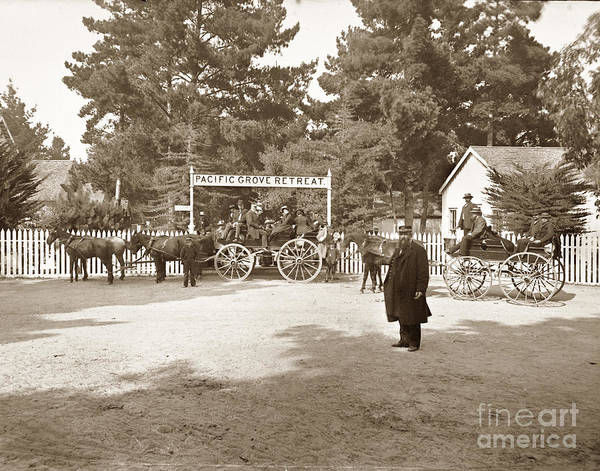 Photograph - Pacific Grove Retreat Gate On Lighthouse At Grand Aves  With  O. J. Johnson Circa 1880 by California Views Archives Mr Pat Hathaway Archives