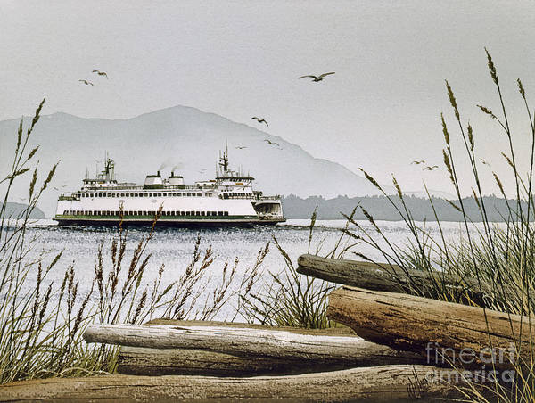 San Juan Islands Wall Art - Painting - Pacific Northwest Ferry by James Williamson