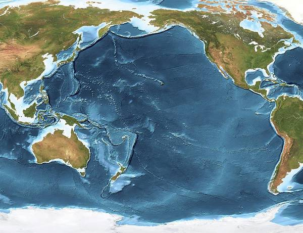 Wall Art - Photograph - Pacific Ocean Sea Floor Topography by Planetary Visions Ltd/science Photo Library
