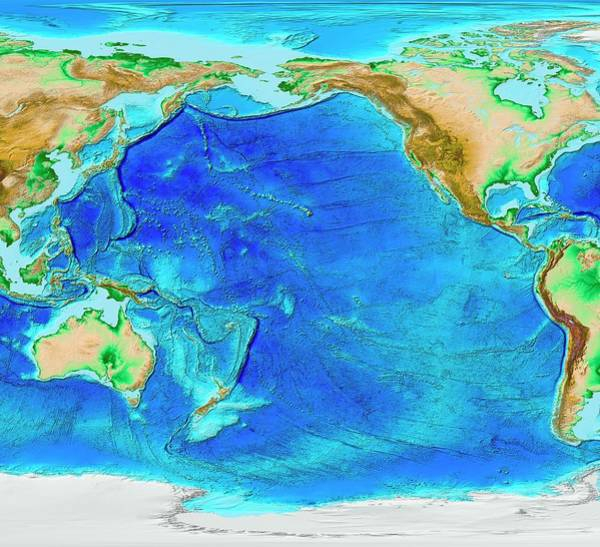 Fire Ring Photograph - Pacific Ocean Topography by Noaa/science Photo Library