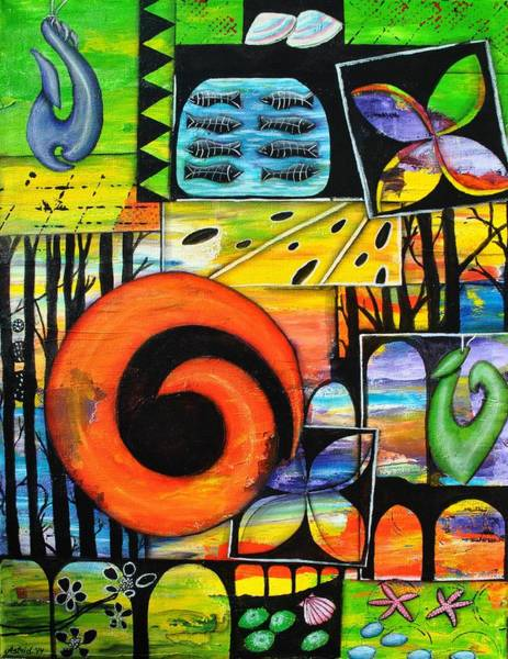 Mojo Painting - Pacific Treasures by Astrid Rosemergy