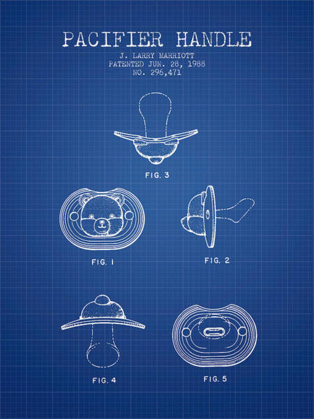 Dummy Digital Art - Pacifier Handle Patent From 1988 - Blueprint by Aged Pixel