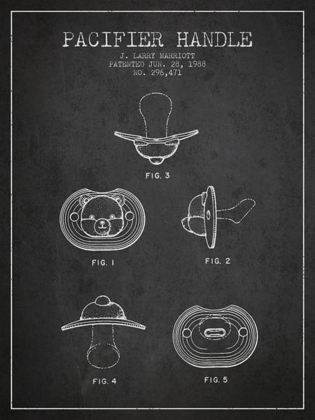 Dummy Digital Art - Pacifier Handle Patent From 1988 - Charcoal by Aged Pixel