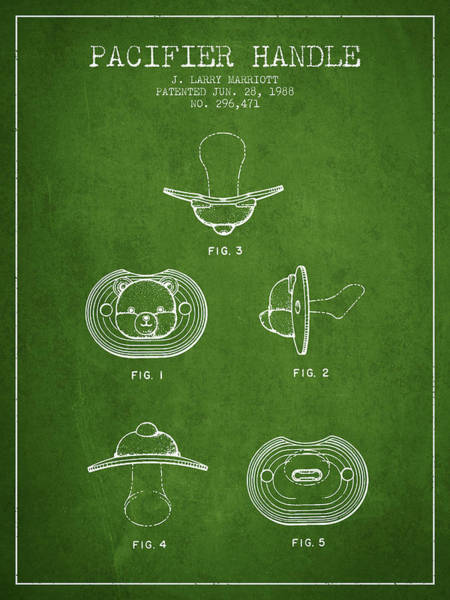Dummy Digital Art - Pacifier Handle Patent From 1988 - Green by Aged Pixel