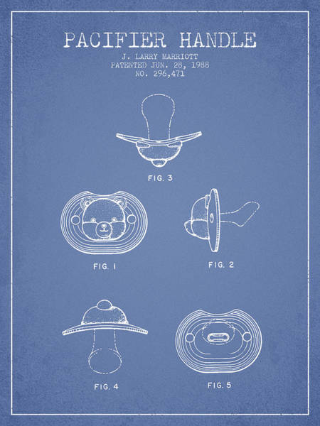 Dummy Digital Art - Pacifier Handle Patent From 1988 - Light Blue by Aged Pixel