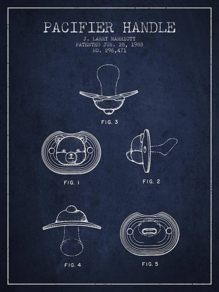 Dummy Digital Art - Pacifier Handle Patent From 1988 - Navy Blue by Aged Pixel