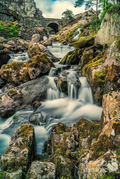 Bridge Bank Photograph - Packhorse Waterfall by Adrian Evans