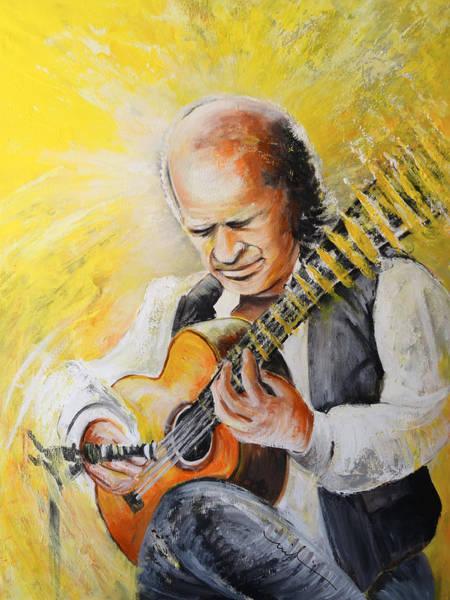 Spanish Guitar Wall Art - Painting - Paco De Lucia by Miki De Goodaboom