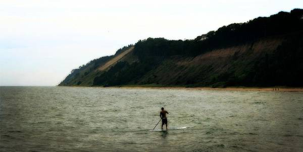 Photograph - Paddle Boarding Along Dunes by Michelle Calkins