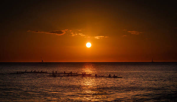 Wall Art - Photograph - Paddle Into The Sunset In Hawaii by Tin Lung Chao