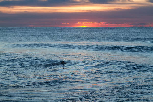 Bodyboard Photograph - Ocean Sunrise Paddle Out At First Light by Trevor Nicodemo