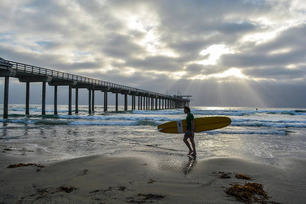 Scripps Pier Photograph - Paddled Out by Mark Aquino