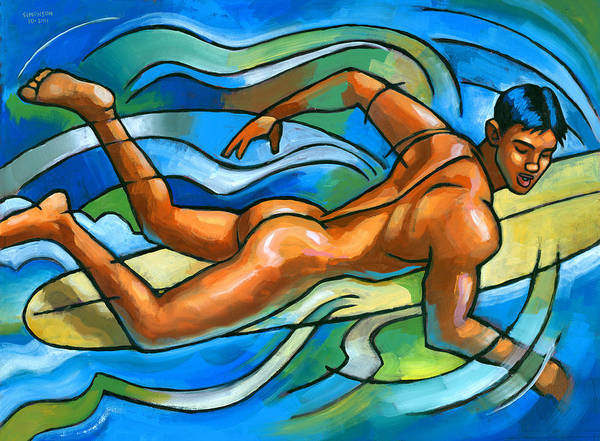 Nude Body Painting - Paddling by Douglas Simonson