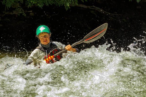 Photograph - Paddling In Whitewater by Les Palenik