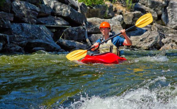 Photograph - Paddling Kayak On Whitewater River by Les Palenik