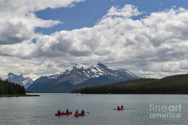 Photograph - Paddling Maligne Lake by Charles Kozierok