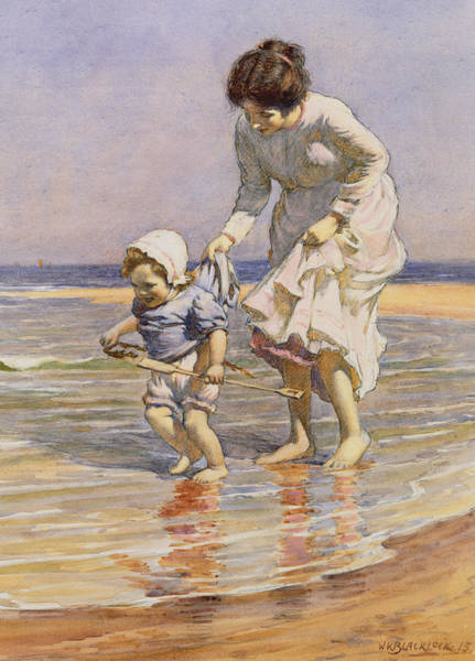 Toddler Painting - Paddling by William Kay Blacklock