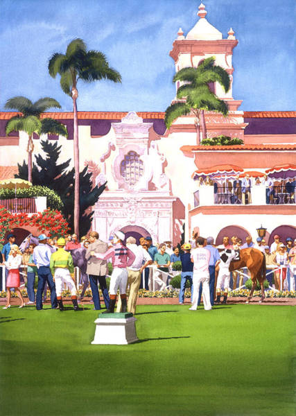 Paddock Wall Art - Painting - Paddock At Del Mar by Mary Helmreich