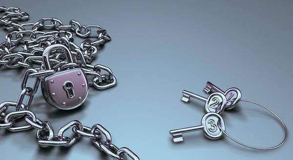Padlock Photograph - Padlock And Keys by Ktsdesign/science Photo Library