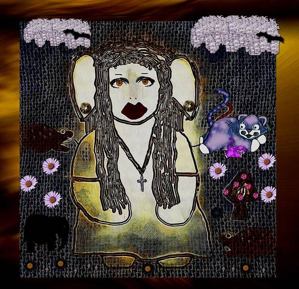 Troll Mixed Media - Pagan And Troll In The Wood by Pepita Selles