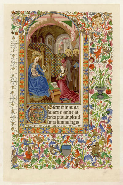 Wall Art - Drawing - Page From A Piedmontese Book  Of Hours by Mary Evans Picture Library