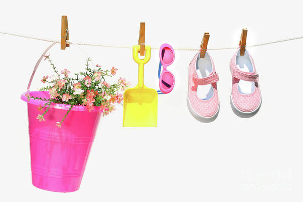 Photograph - Pail And Shoes On White by Sandra Cunningham