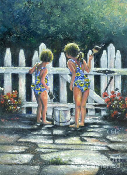 White Picket Fence Painting - Summer Sisters by Vickie Wade