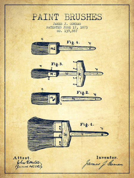 Construction Digital Art - Paint Brushes Patent From 1873 - Vintage by Aged Pixel