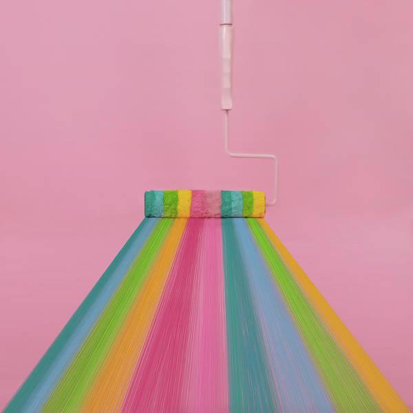 Wall Art - Photograph - Paint Roller With Rainbow Stripes by Juj Winn