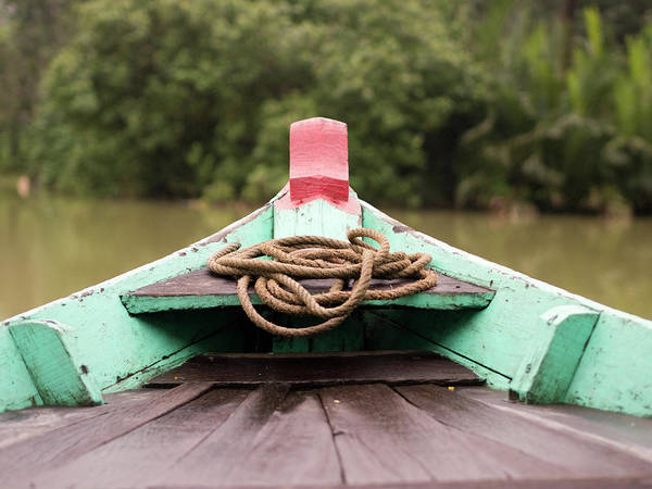 Hoi An Photograph - Painted Boat Front With Rope In Hoi An by David H. Wells