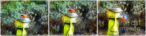Painting - Painted Bullfinch Trio by Vix Edwards