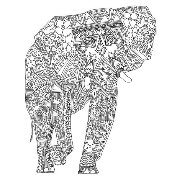 Botanical Drawing - Painted Elephant Black White by MGL Meiklejohn Graphics Licensing