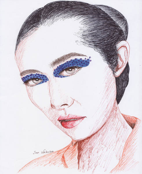 Drawing - Painted Face by M Valeriano